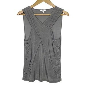REISS Shimmery Gray Halter Twist Sleeveless Top L
